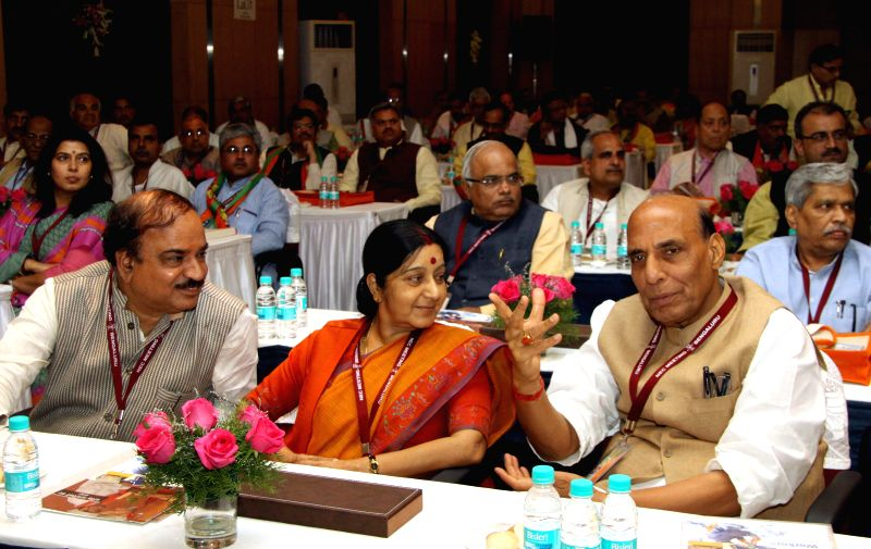 Union Chemicals and Fertilizers Minister Ananth Kumar, External Affairs Minister Sushma Swaraj and Union Home Minister Rajnath Singh during BJP National Executive Committee meeting in ... - Ananth Kumar, Sushma Swaraj and Rajnath Singh