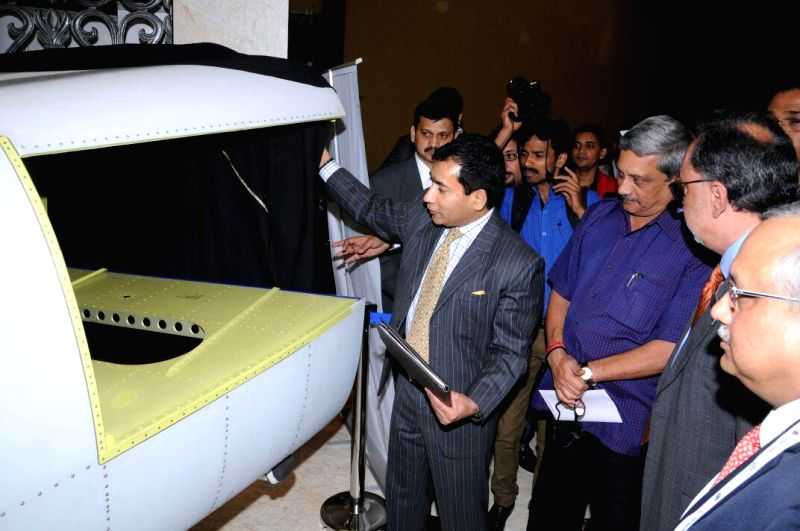Union Defence Minister Manohar Parrikar participates in unveiling and hand over ceremony of the first made in India Aft Fuselage Assembly and Tunrnover Bulkhead Assembly by Dynamatic ... - Manohar Parrikar