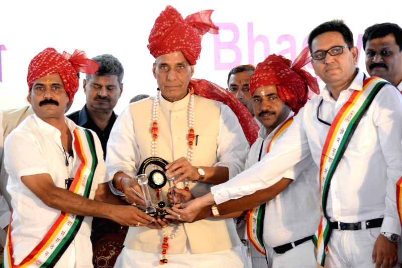 Union Home Minister Rajnath Singh being felicitated during a programme organised on Mahavir Jayanti in Bengaluru, on April 2, 2015.