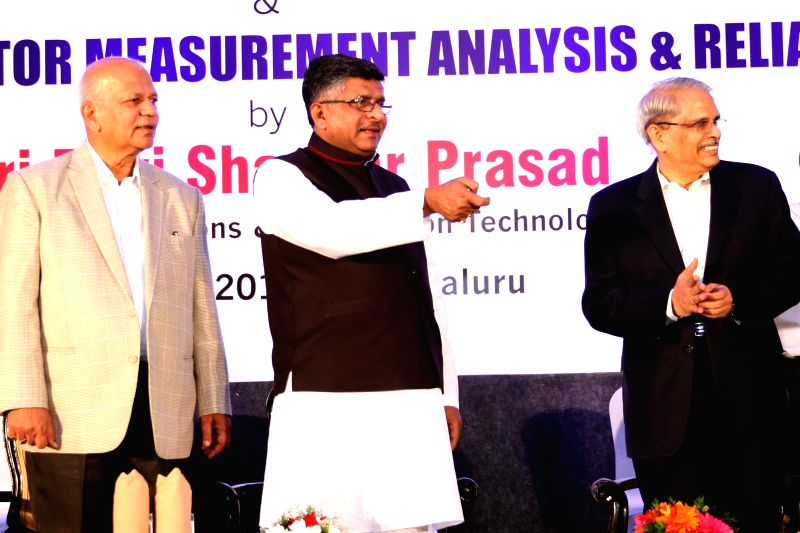 Union Minister for Communications and Information Technology Ravi Shankar Prasad during a programme organised to lay the foundation stone of new Incubation facility of STPI Bengaluru ...