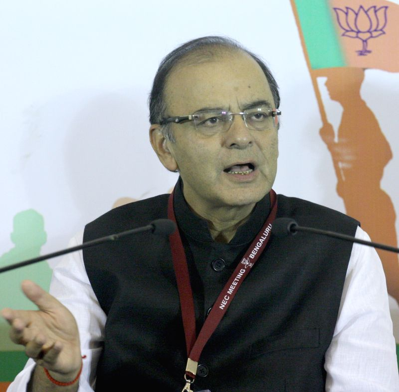 Union Minister for Finance, Corporate Affairs, and Information and Broadcasting Arun Jaitley addresses during a press conference in Bengaluru, on April 4, 2015.