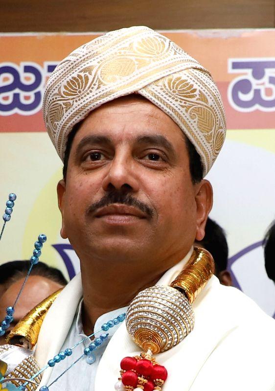Bengaluru: Union Minister Prahalad Joshi during a felicitation programme at Karnataka BJP office in Bengaluru on June 1, 2019.