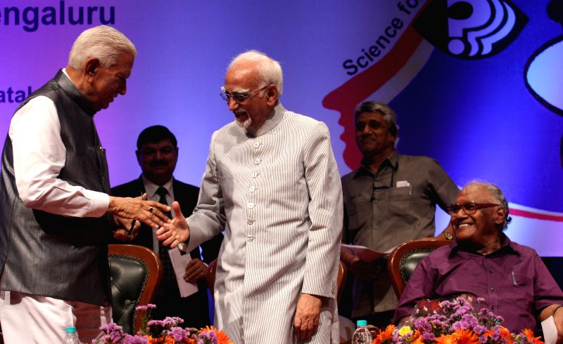 Vice President Mohd. Hamid Ansari at the inauguration of the 15th All India People`s Science Congress to 2015 on the theme `science for social change`, in Bengaluru on May 22, 2015. Also ...
