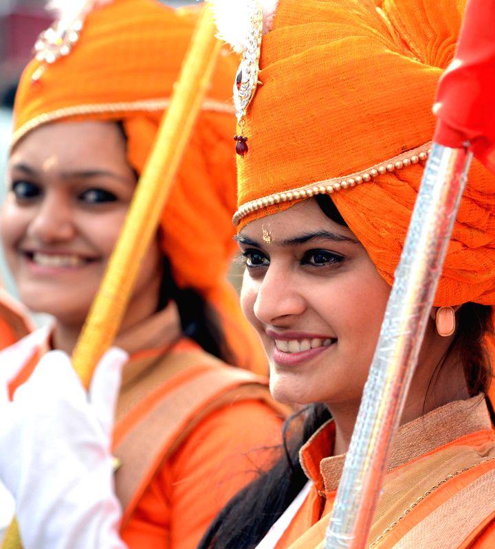 Women participate in a Mahavir Jayanti procession in Bengaluru on April 2, 2015.