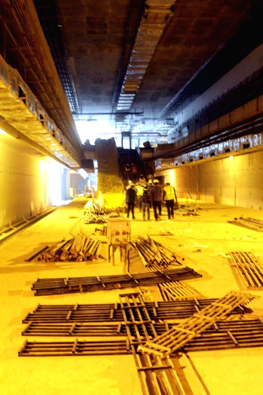 Work in progress in the metro railway tunnel between Vidhan Soudha station and Minsk Square station in Bengaluru, on March 7, 2015.