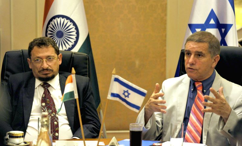 Ambassador of Israel to India Daniel Carmon and Israel Consul General to South India, Menahem Kanafi during a press conference, in Bangalore on April 7, 2015.