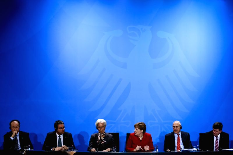 BERLIN, April 5, 2016 - (from L to R) World Bank Group President Jim Yong Kim, WTO Director General Roberto Azevedo, Christine Lagarde, Managing Director of the International Monetary Fund, German ...