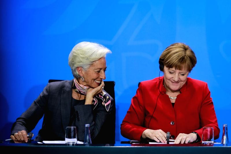 BERLIN, April 5, 2016 - German Chancellor Angela Merkel (R) and Christine Lagarde, Managing Director of the International Monetary Fund attend a joint press conference in Berlin, Germany, on April 5, ...