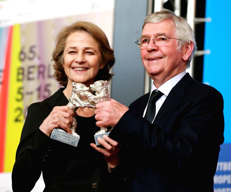 Actor Tom Courtenay (R) and actress Charlotte Rampling attend a news conference after receiving their Silver Bears for Best Actor and Best Actress for the film ... - Tom Courtenay