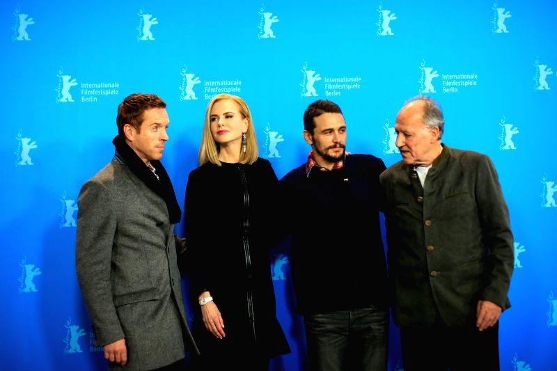 "(L-R) Damian Lewis, Nicole Kidman, James France and director Werner Herzog pose for photos during a photocall to promote the movie ""Queen of the Desert"" at ..."