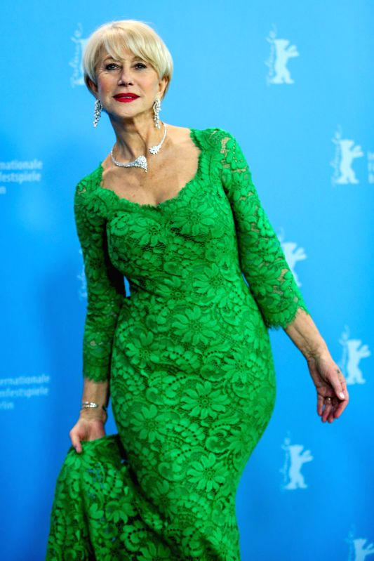"""Helen Mirren poses for photos during a photocall for the promotion of the movie """"Woman in Gold"""" at the 65th Berlinale International Film Festival in Berlin,"""