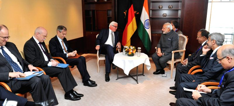 Federal Foreign Minister of Germany Frank-Walter Steinmeier meets the Prime Minister Narendra Modi, at Berlin, in Germany on April 14, 2015. - Narendra Modi