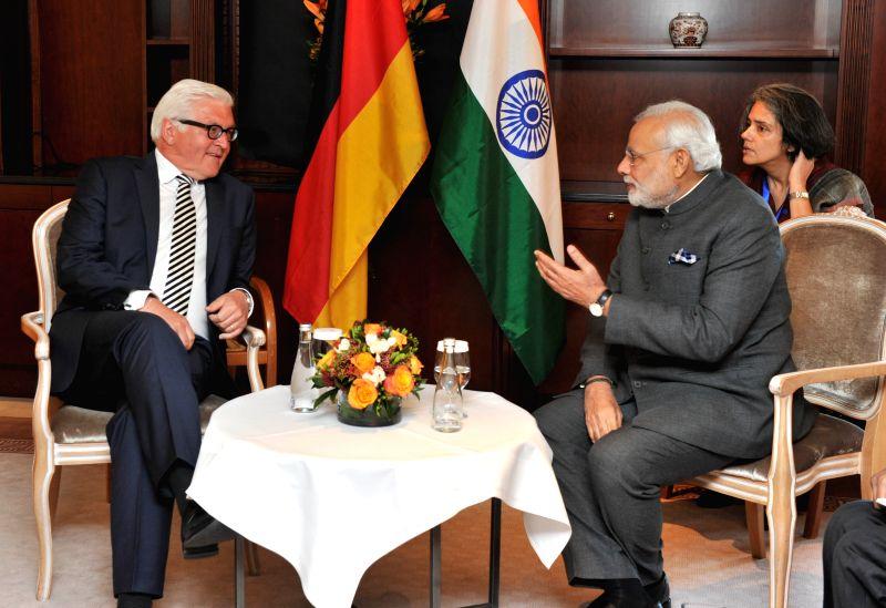 Berlin (Germany): German Foreign Minister Frank-Walter Steinmeier calls on Prime Minister Narendra Modi in Berlin, Germany on April 14, 2015. - Frank-Walter Steinmeier and Narendra Modi