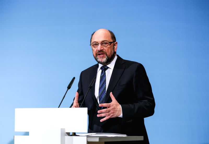 BERLIN, Jan. 12, 2018 - er of German Social Democratic Party (SPD) Martin Schulz speaks during a joint press conference after coalition talks at the headquarters of SPD, in Berlin, Germany, on ...