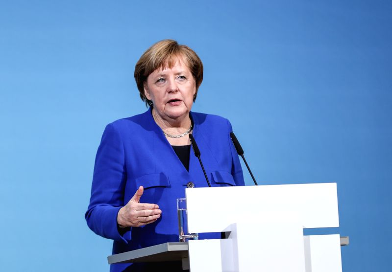 BERLIN, Jan. 12, 2018 - German Chancellor and leader of German Christian Democratic Union (CDU) Angela Merkel speaks during a joint press conference after coalition talks at the headquarters of SPD, ...