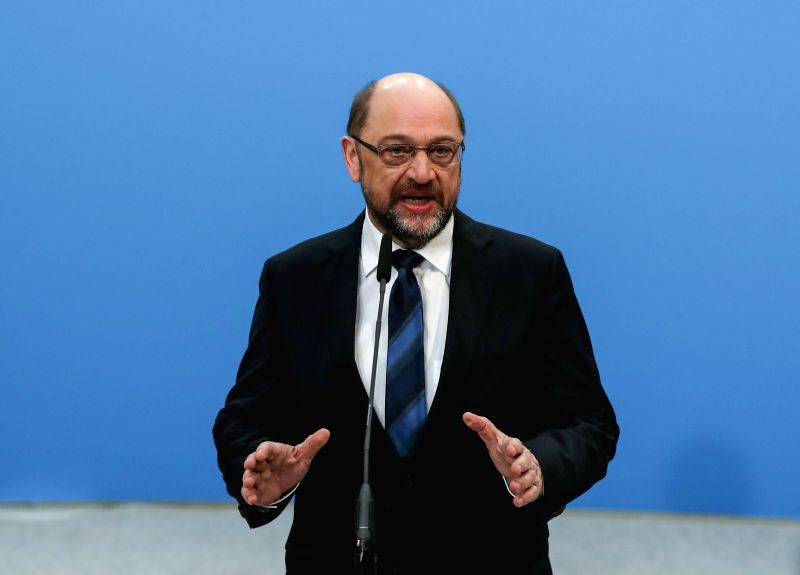 BERLIN, Jan. 26, 2018 - er of German Social Democratic Party (SPD) Martin Schulz delivers a speech before the start of coalition talks at the Christian Democratic Union (CDU) party headquarters ...