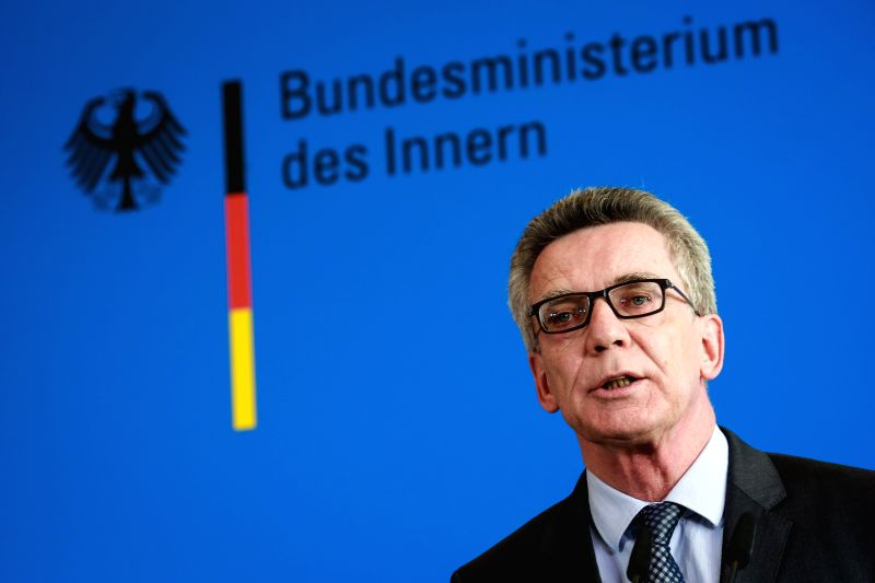 BERLIN, July 25, 2016 - German Interior Minister Thomas de Maiziere addresses a press conference in Berlin, Germany, July 25, 2016. Thomas de Maiziere said Monday a terrorism link to the suicide ... - Thomas