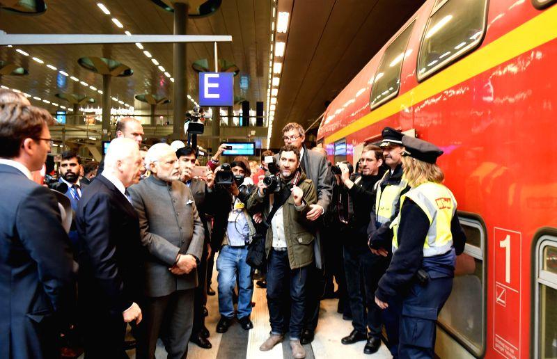 Prime Minister Narendra Modi take a stock of Railway Modernisation, during his visit to Hauptbahnhof Railway Station, in Berlin, Germany on April 14, 2015. - Narendra Modi