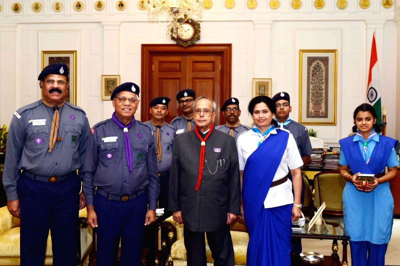 Bharat Scouts and Guides Chief National Commissioner B I Nagarale meets President Pranab Mukherjee on the occasion of Bharat Scouts and Guides Foundation Day at Rashtrapati Bhavan in New ... - Pranab Mukherjee