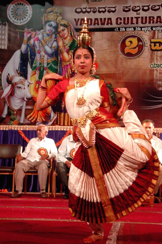 Bharatanatyam performance during the 2nd anniversary celebrations of Yadava Cultural Foundation Trust at Ravindra Kalakshetra in Bangalore on April 27, 2014.