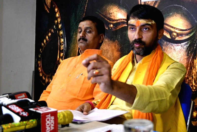 Bharatiya Janata Party (BJP) leader Arjit Shashwat, son of Union Minister Ashwini Choubey addresses a press conference in Patna on April 13, 2018. - Ashwini Choubey