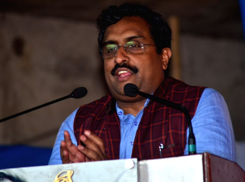 Bharatiya Janata Party (BJP) national general secretary Ram Madhav addresses during a programme at Boko in Kamrup on June 3, 2017.