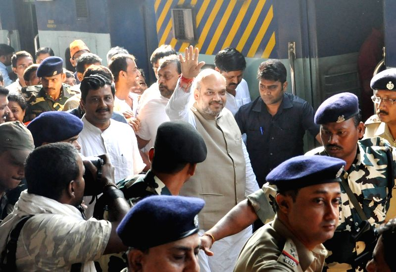 Bharatiya Janata Party president Amit Shah arrives at Sealdah railway station in Kolkata on April 26, 2017. - Amit Shah