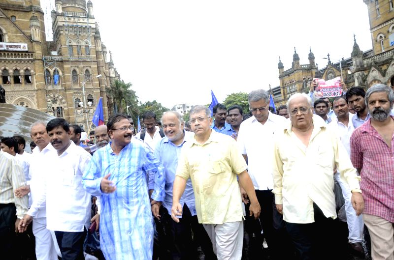 Bharatiya Republican Party (BRP) workers led by party chief Prakash Ambedkar participate in a rally to press for their demands in Mumbai on Aug 22, 2014.