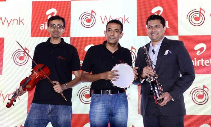 Bharti Airtel Chief Product Officer Anand Chandrasekaran with Director- Consumer Business, Srinivasan Gopalan and Managing Director of Universal Music & EMI Music for the South Asia Devraj Sanyal