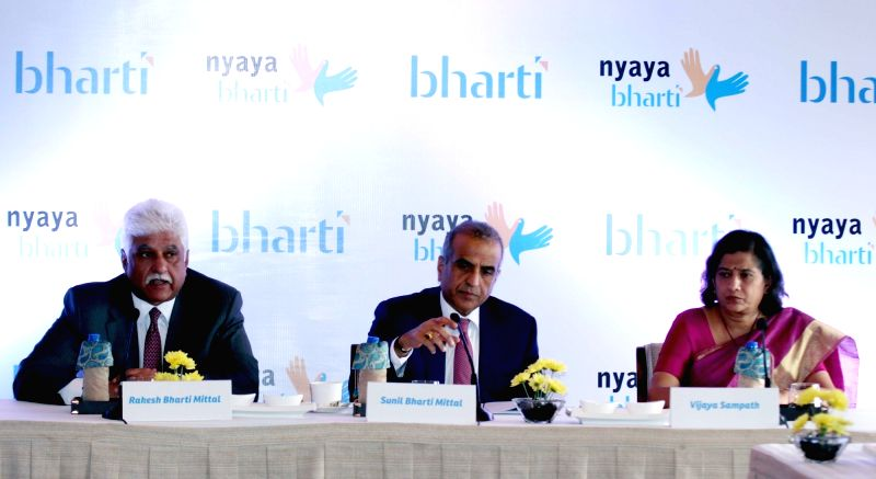 Bharti Enterprises' Chairman Sunil Bharti Mittal and  Vice-Chairman of Bharti Enterprises Rakesh Bharti Mittal during a press conference in New Delhi on Nov 26, 2015.