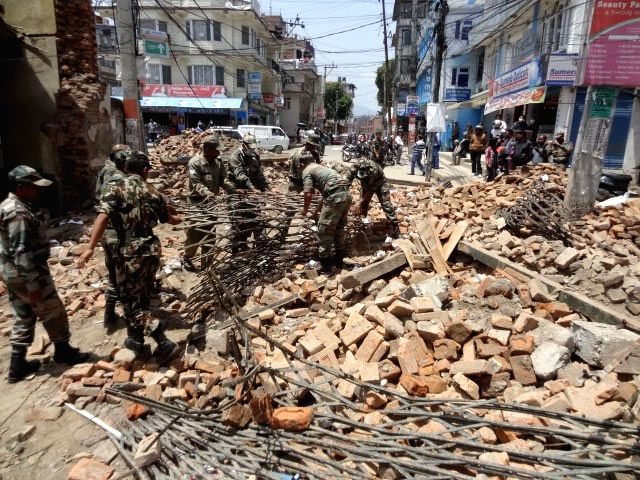 Indian Army Engineers involved in the rescue operation, at Bhaundhara, in Nepal on May 2, 2015.