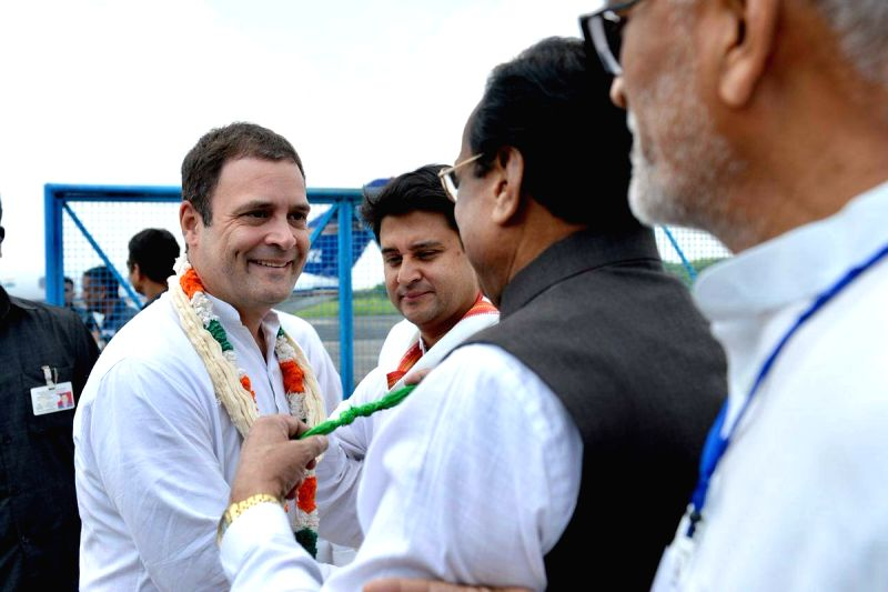 : Bhopal: Congress President Rahul Gandhi arrives in Bhopal, on Sept 17, 2018. (Photo: IANS/Twitter/@INCIndia).