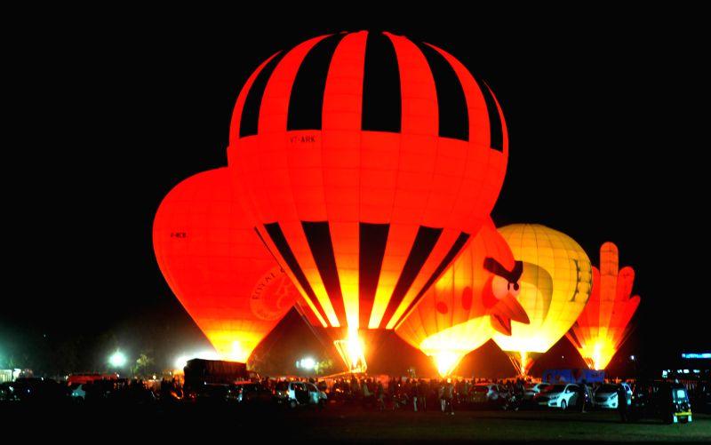 Hot air balloons during the Jheel Mahotsav in Bhopal, on Feb 14, 2015.