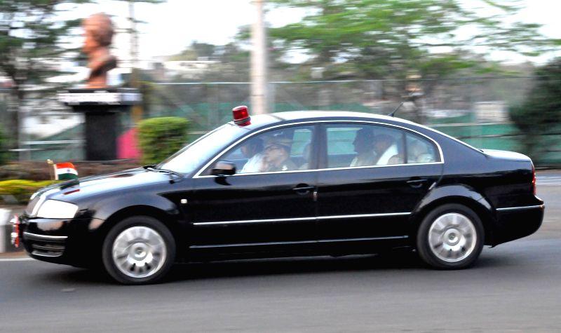 Madhya Pradesh governor Ram Naresh Yadav leaves Bhopal to attend a personal function in Uttar Pradesh on Feb 26, 2015. - Naresh Yadav
