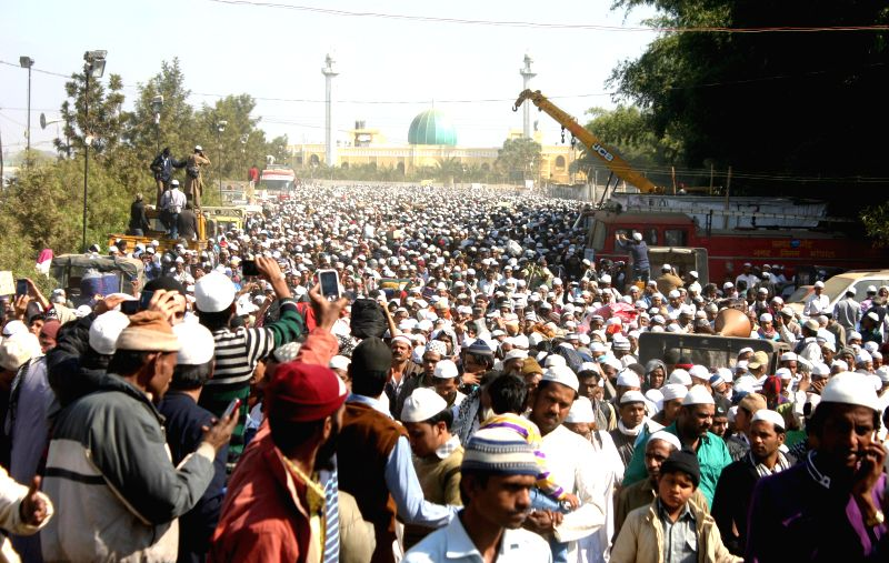 People in large numbers participate in Alami Tablighi Ijtima - an annual Islamic congregation held in Bhopal, on Dec 8, 2014.