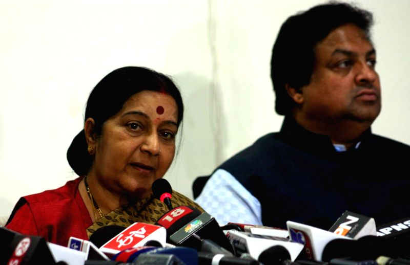 The Union Minister for External Affairs and Overseas Indian Affairs, Sushma Swaraj addresses a press conference in Bhopal, on Dec 25, 2014.