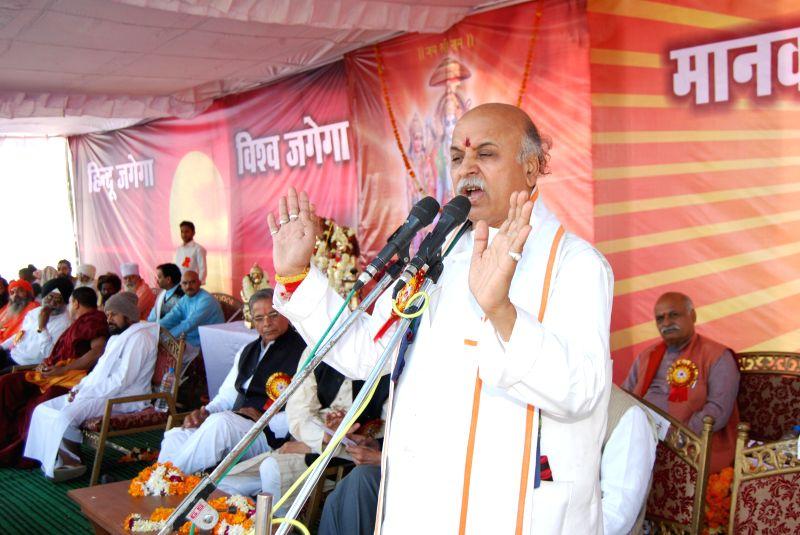 Vishwa Hindu Parishad leader Praveen Togadia addresses during a programme in Bhopal, on Dec 21, 2014.