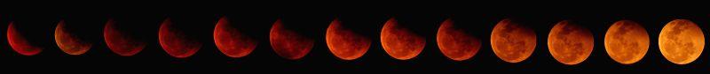 A timing view of lunar eclipse at Pathani samanta planetarium in Bhubaneswar on April 4, 2015. (Photo : Arabinda Mahapatra/IANS)