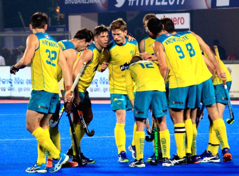: Bhubaneswar: Australian players celebrate after winning Hockey World League (HWL) Final against Argentina at the Kalinga Stadium in Bhubaneswar, on Dec 10, 2017. (Photo : Arabinda Mahapatra/IANS).