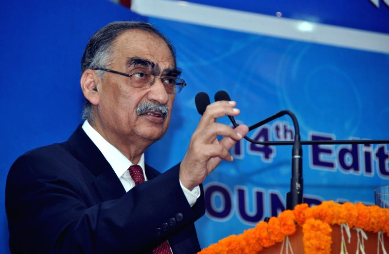 Bhubaneswar: Former secretary Ministry of External Affairs Vivek Katju addresses at the 14th Foundation Day celebration of NALCO in Bhubaneswar, on Jan 6, 2015. (Photo : IANS)