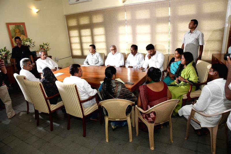 Bhubaneswar: BJD President and Odisha Chief Minister Naveen Patnaik chairs a meeting with the party's newly elected MPs at his residence, in Bhubaneswar, on May 26, 2019.