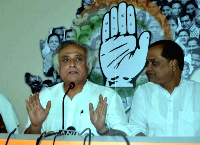 Congress MP Jairam Ramesh addresses a press conference in Bhubaneswar, on April 6, 2015. (Photo : IANS)