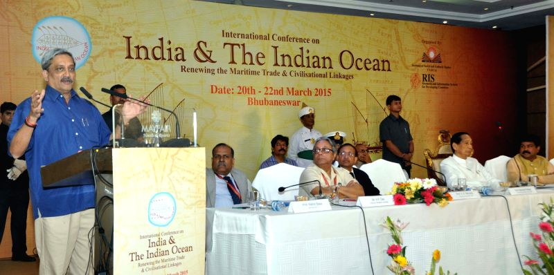 Defence Minister Manohar Parrikar addressing valedictory function of the International Conference on India and the Indian Ocean in Bhubaneswar on March 22, 2015.