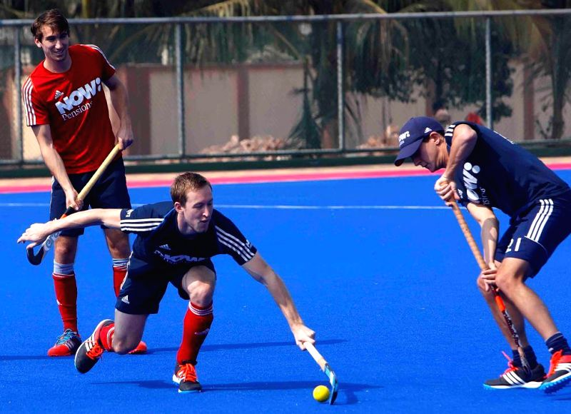 England players in action during a practice session of Hero Men`s Champions Trophy 2014 at Kalinga Stadium in Bhubaneswar on Dec 5, 2014.