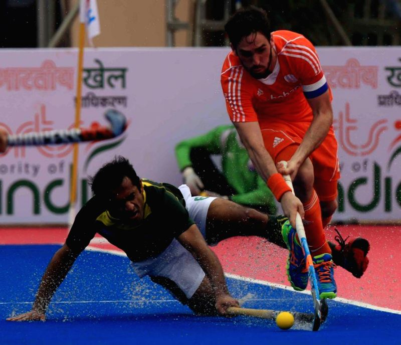 Player in action during a HHCT - 2014 (Hero Hockey Men`s Champions Trophy 2014) match between Pakistan and Netherlands at Kalinga Stadium in Bhubaneswar on Dec 11, 2014.