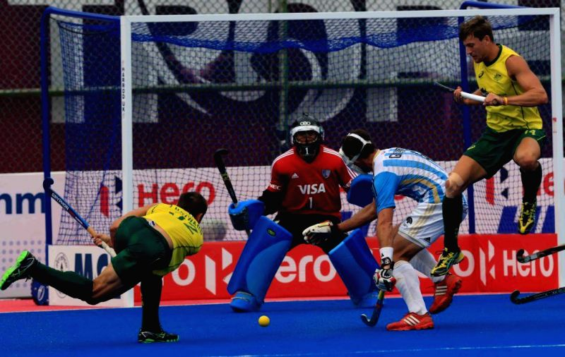 Player in action during a HHCT - 2014 (Hero Hockey Men`s Champions Trophy 2014) match between Australia and Argentina at Kalinga Stadium in Bhubaneswar on Dec 11, 2014. Australia won ...