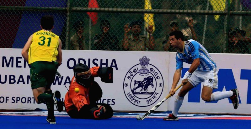 Player in action during a HHCT - 2014 (Hero Hockey Men`s Champions Trophy 2014) match between Australia and Argentina at Kalinga Stadium in Bhubaneswar on Dec 11, 2014. Australia won. ...