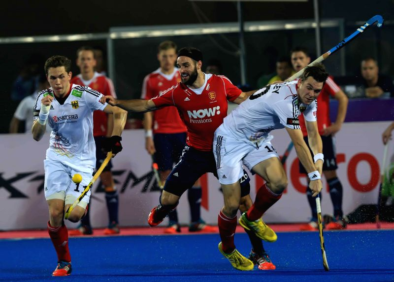 Player in action during a HHCT - 2014 (Hero Hockey Men`s Champions Trophy 2014) match between England and Germany at Kalinga Stadium in Bhubaneswar on Dec 11, 2014. Germany won Score: ...