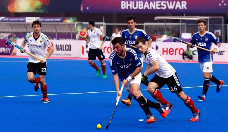 Players in action during a Hero Men's Champions Trophy 2014 match between Argentina and Germany at Kalinga Stadium in Bhubaneswar on Dec 9, 2014. Argentina won. Score: 3-0