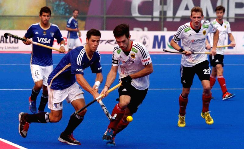 Players in action during a Hero Men's Champions Trophy 2014 match between Argentina and Germany at Kalinga Stadium in Bhubaneswar on Dec 9, 2014. Argentina won Score: 3-0.